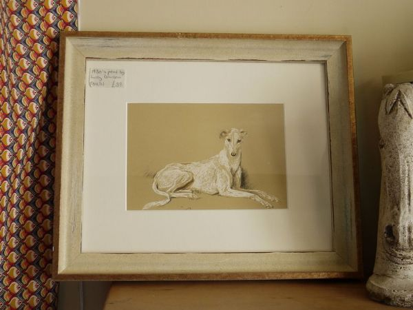 White Greyhound - Gre D1 -  1930's print by Lucy Dawson